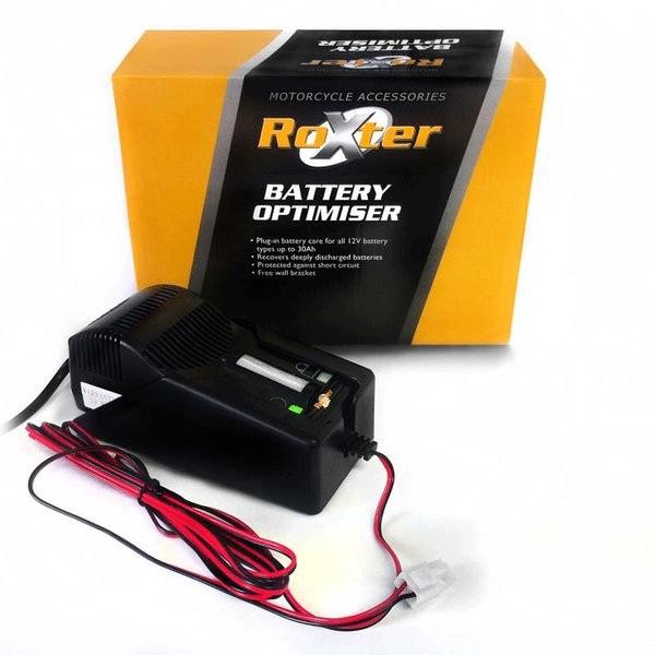 scooter roxter 12v battery optimiser charger for lexmoto gladiator 125. Black Bedroom Furniture Sets. Home Design Ideas