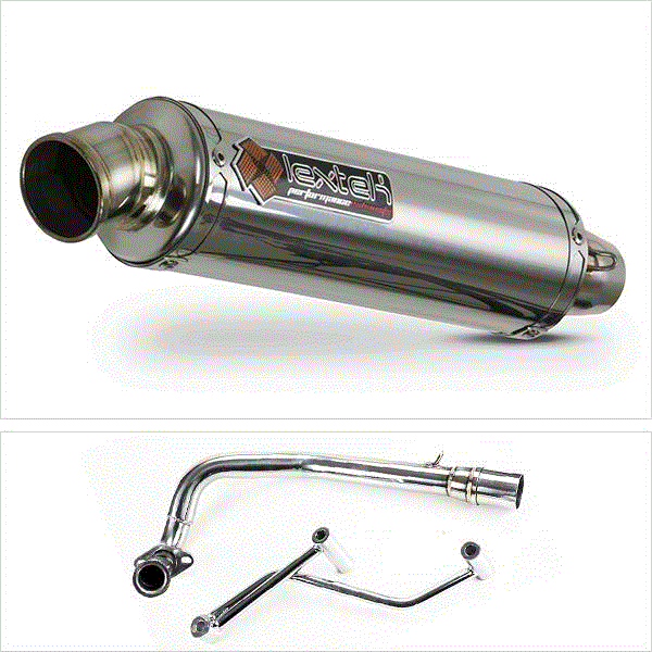 Details about Lextek Scooter RR4 S/Steel Round Exhaust System for GY6 50cc  (99-15) EXHKIT421